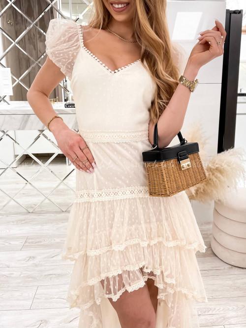 Sukienka z koronką i dłuższym tyłem kremowa Wanessa