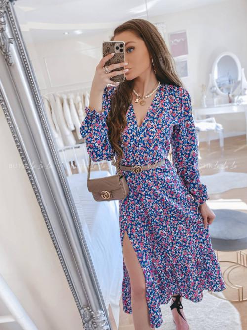 sukienka maxi w kwitowy print Rosati
