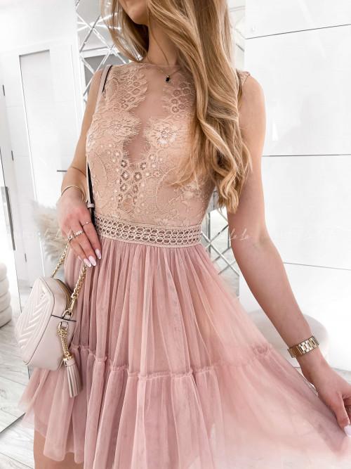 sukienka tiulowa z koronką pudrowy róż Samaluna
