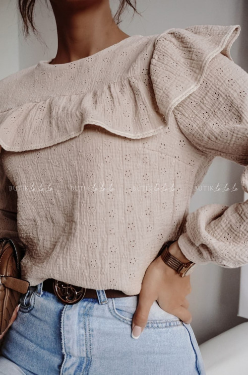 bluzka beżowa ażurowa Uno