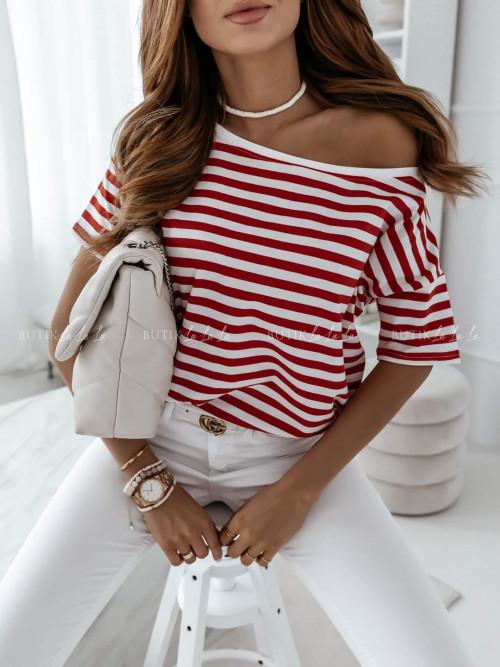 T-shirt w paski czerwono biały Self