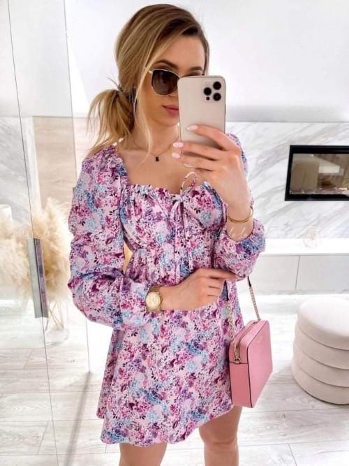 Sukienka liliowa w kwiatki hesperia