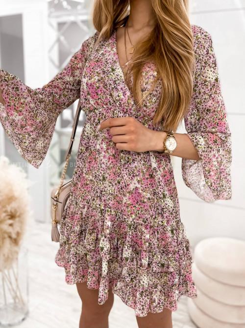 sukienka w kwiaty z falbankami Santi