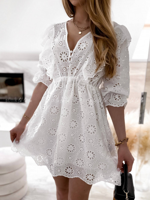 sukienka biała ażurowa Nina