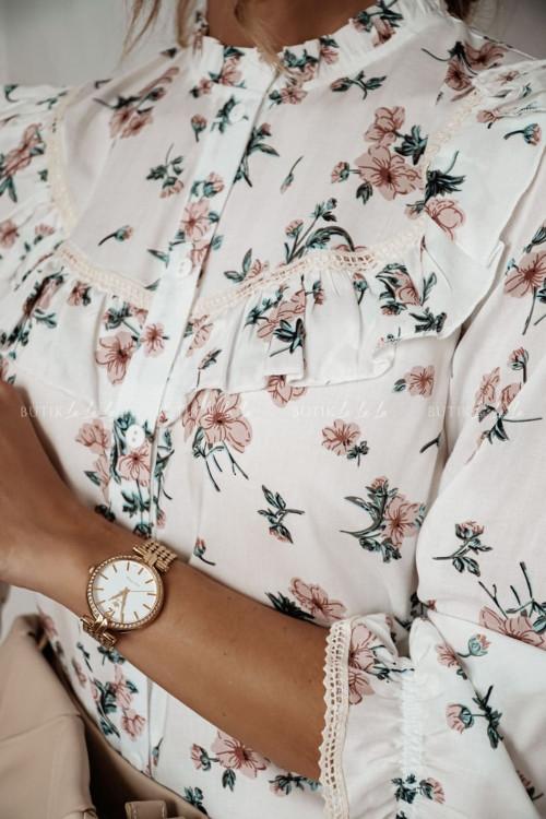 bluzka koszulowa biała w kwiatowy print Angela