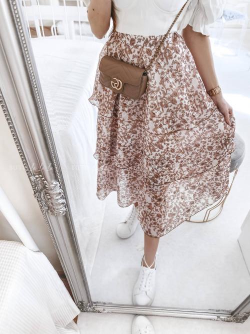 spódnica kremowa w kwiatowy print Sawent
