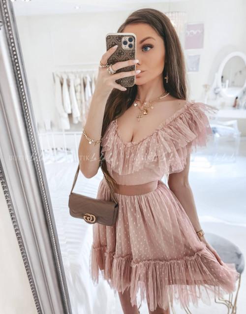 sukienka MINI tiulowa pudrowa z falbanką Belisso