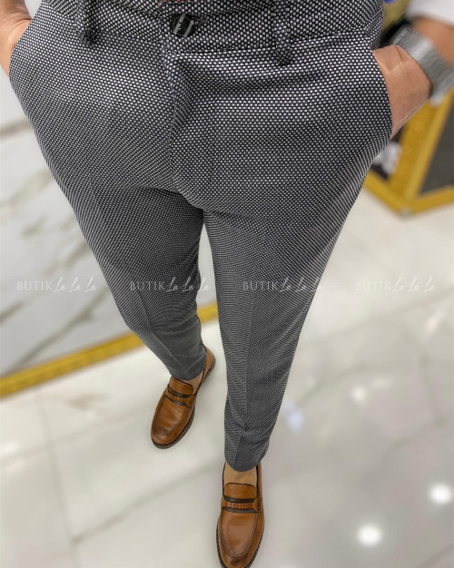 Spodnie męskie szary w drobną fakturę