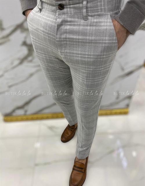 Spodnie męskie szary w kratę