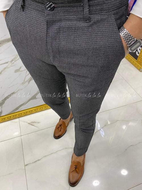 Spodnie męskie ciemny szary w drobną fakturę