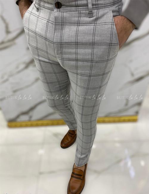 Spodnie męskie szare w kratę