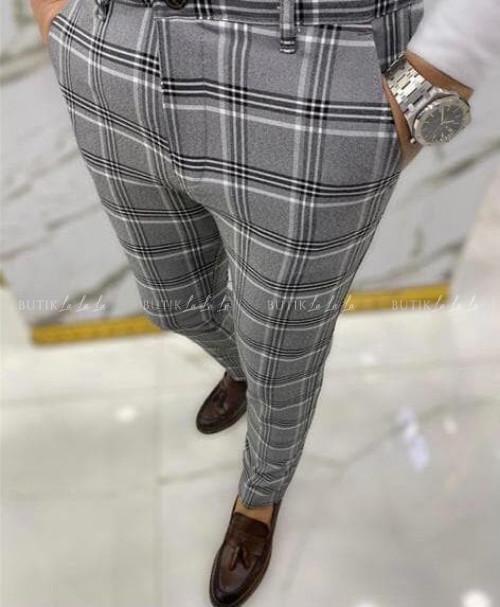 Spodnie męskie szare w dużą kratę