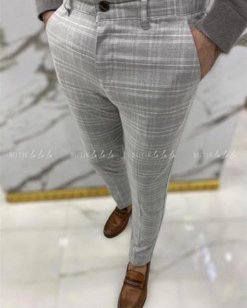 Spodnie męskie jasne szare w kratę