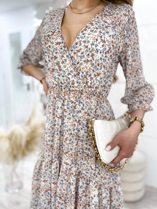 Sukienka beżowa w kwiaty midi Dolan