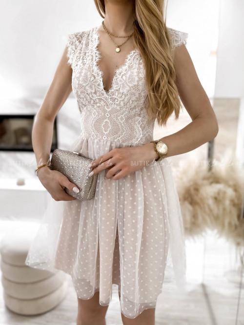 sukienka z koronkowa góra i tiulowym dołem biało-beżowa Servio