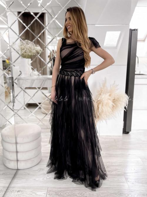 Sukienka czarna tiulowa maxi Welencja