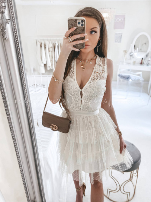 Sukienka z koronkową górą i tiulowym dołem w kropeczki kremowa Etiene