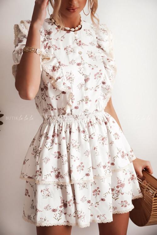 sukienka biała w kwiatki Parima