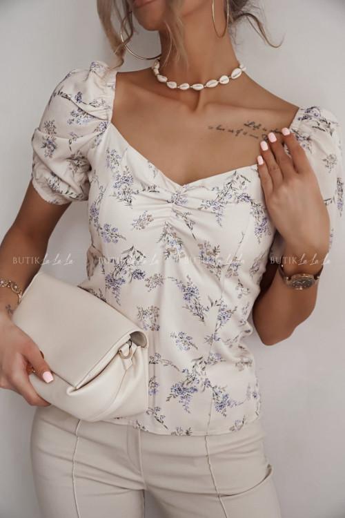bluzka beżowa w kwiatuszki Tarissa