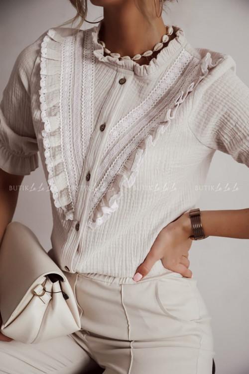 bluzka beżowa z falbanka Avira