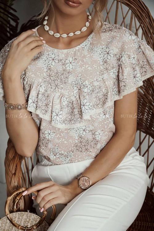 bluzka bezowa w drobne kwiatuszki Solenti