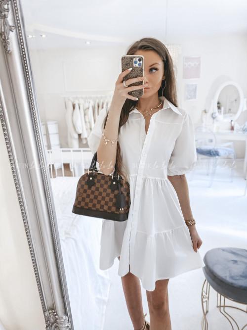 sukienka na krótki rękaw biała Odetta 20082