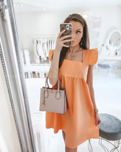 sukienka na grubych ramiączkach pomarańczowa Andro
