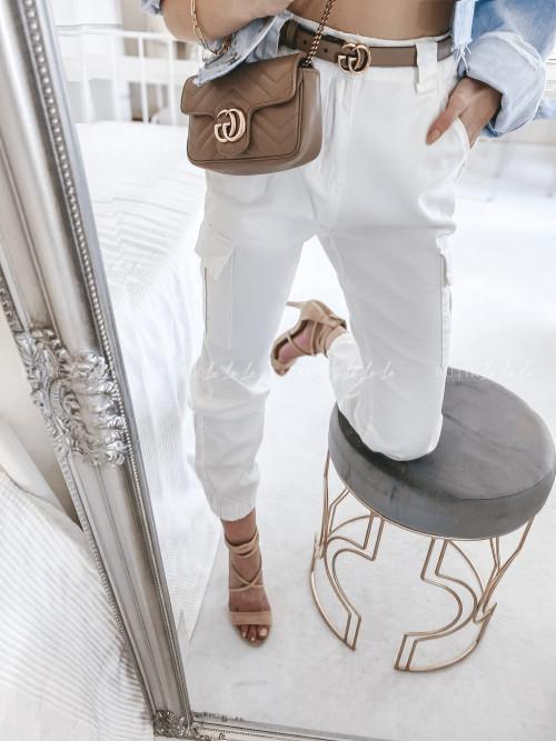 spodnie bojówki kremowe