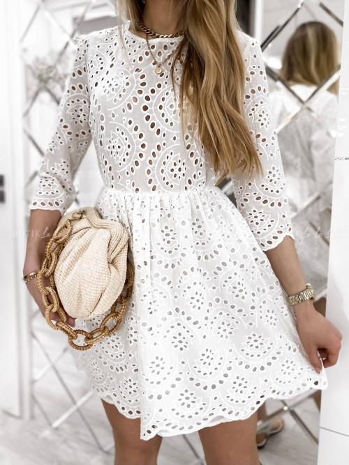Sukienka biała ażurowa Alaya