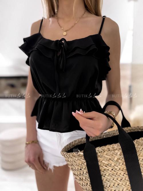 Bluzka na ramiączka z falbanką czarna Eveline