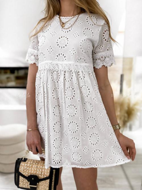 sukienka biała ażurowa Sorina