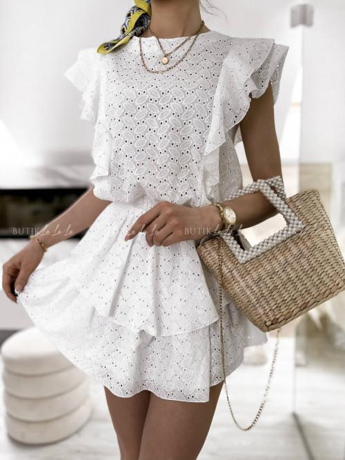 sukienka biała ażurowa z falbankami Stylia