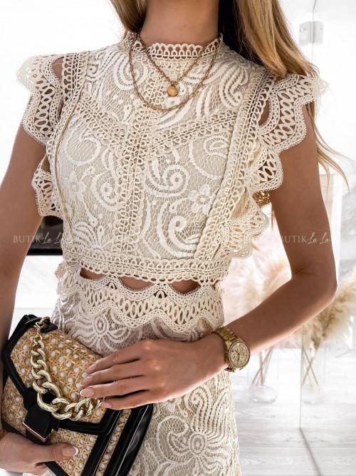 sukienka kremowa koronkowa Meriola