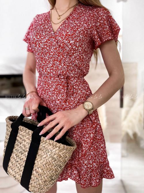 sukienka czerwona wiązana Dakota