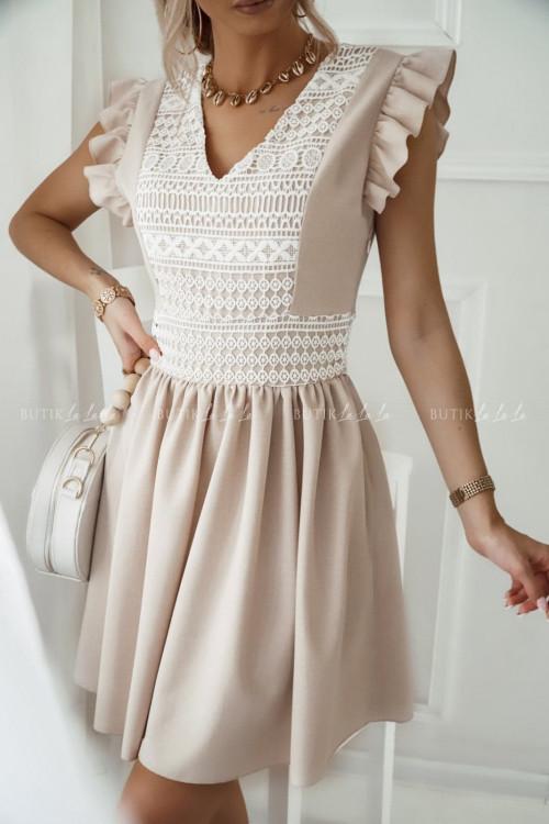 sukienka beżowa z haftem Luna