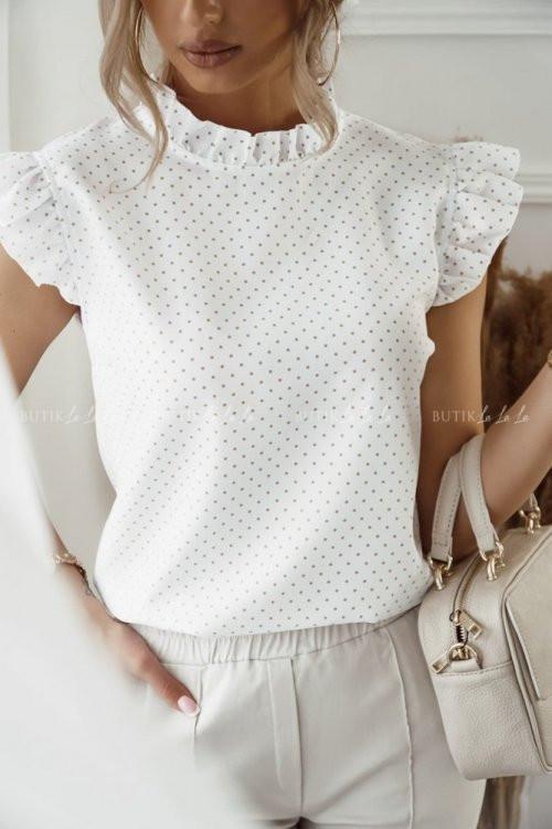 bluzka biała w groszki Badu