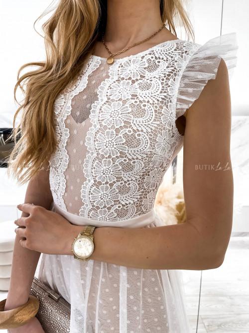 sukienka biało beżowa Mathildis