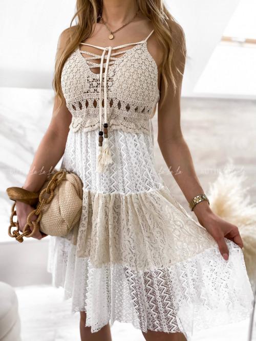sukienka z wiązaniem kremowo-beżowa Alicy