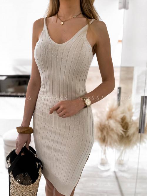 sukienka prążkowana beżowa Kalita