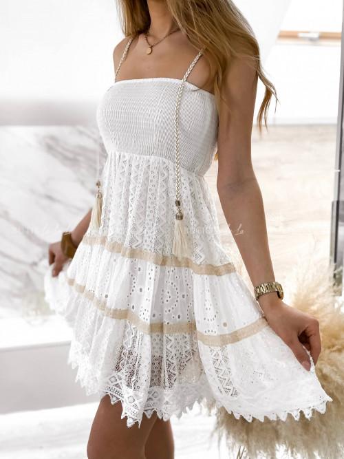 sukienka na ramiączka kremowa Leotta