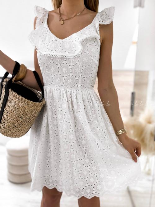 sukienka biała z wiązaniem Ksana