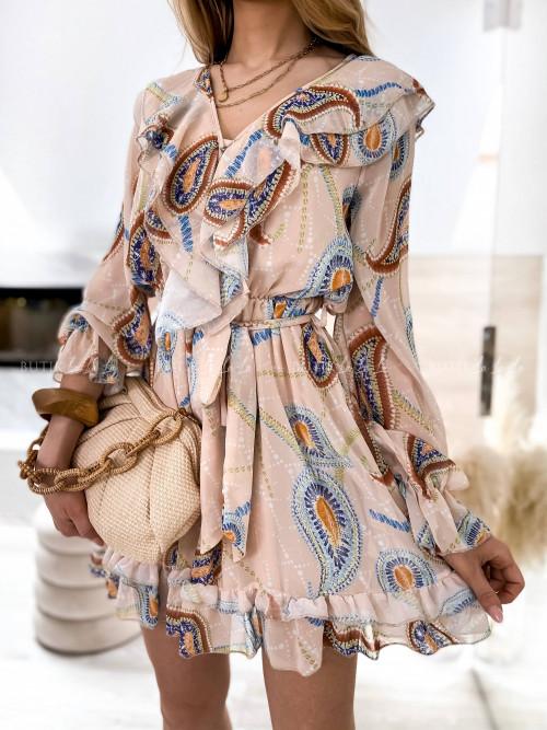 Sukienka w print kwiatowy Beige Rose