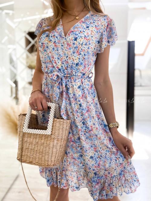 Sukienka niebieska w kwiatowy print Sintia