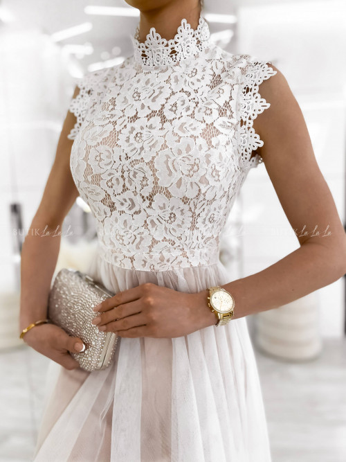 sukienka biało beżowa Tiffi