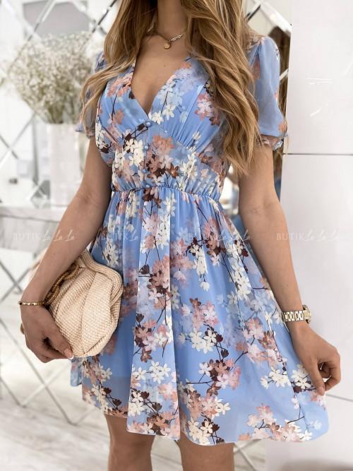 sukienka niebieska w kwiaty Loida
