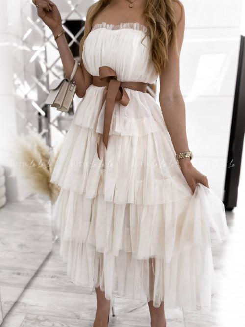 sukienka tiulowa gorsetowa z falbanami maxi kremowa Śnieżka