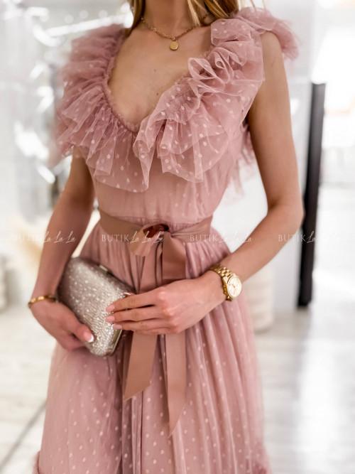 sukienka MIDI tiulowa pudrowa Belisso