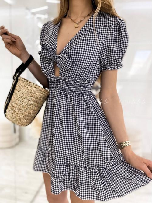 sukienka w kratkę z wiązaniem Lucinda