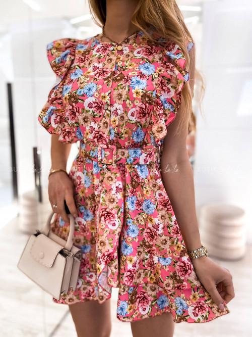 Sukienka różowa w kwiaty z paskiem Igos