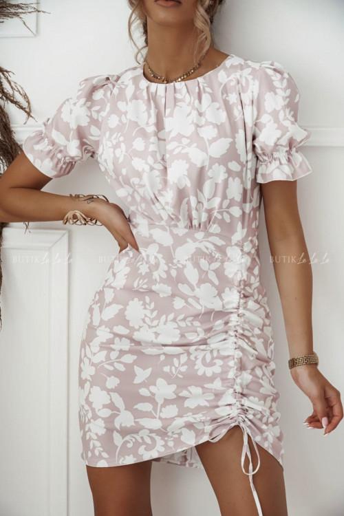 sukienka pudrowa w biały print Sanvi